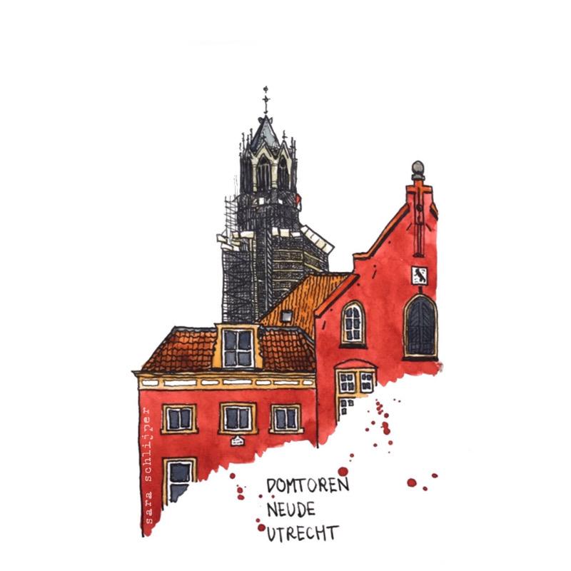 Tekening Neude & Domtoren Utrecht
