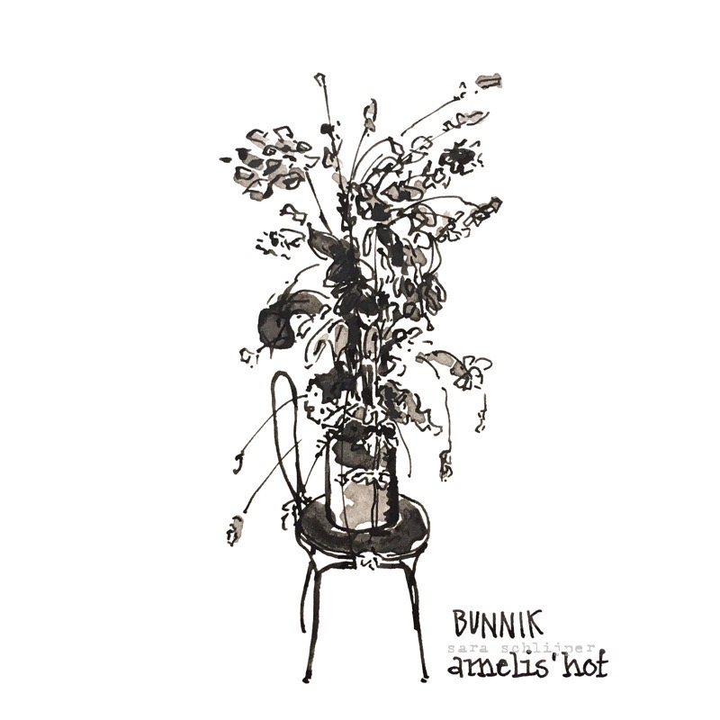 Tekening zwart-wit bloemen Bunnik Amelis' Hof