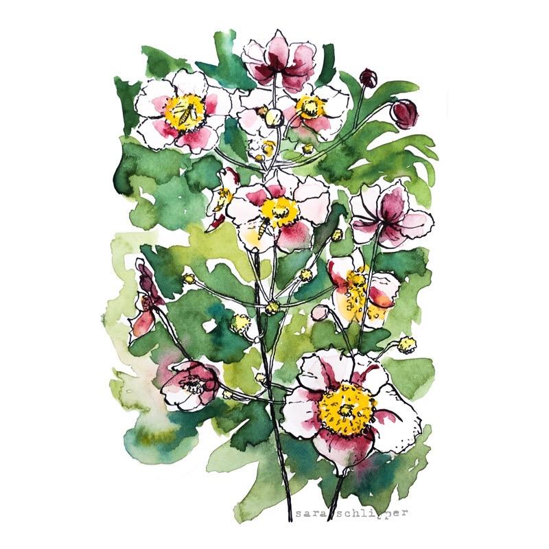 Tekening bloemen roze-wit-geel