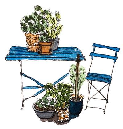 Illustratie: tekening van een Fiep Westerdorp-achtig tafeltje en stoelje met potten kruiden erop en ervoor. Zelf een illustratie nodig? Zoek je iemand die een tekening voor je kan maken? Neem contact op!