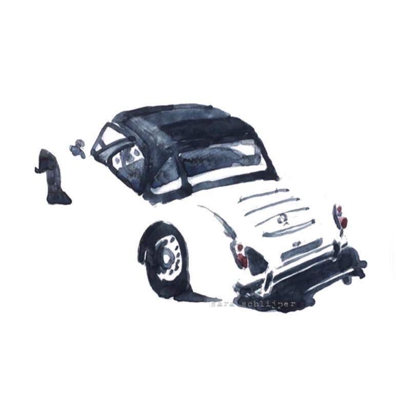 Tekening auto: witte MG A 1600