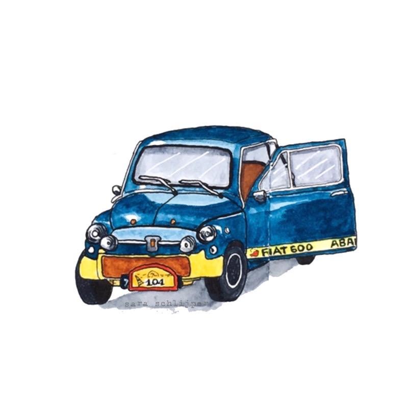 Tekening auto: blauwe Fiat 600 Abarth