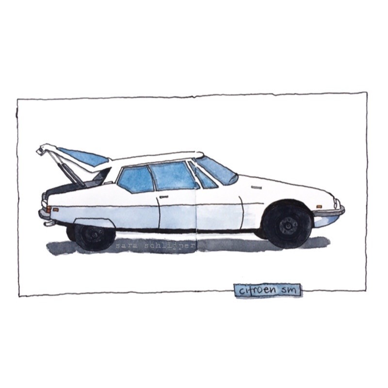 Tekening auto: witte Citroën SM