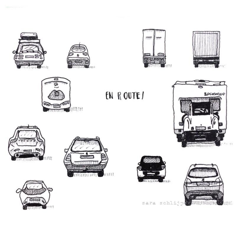 Tekening auto's: en route
