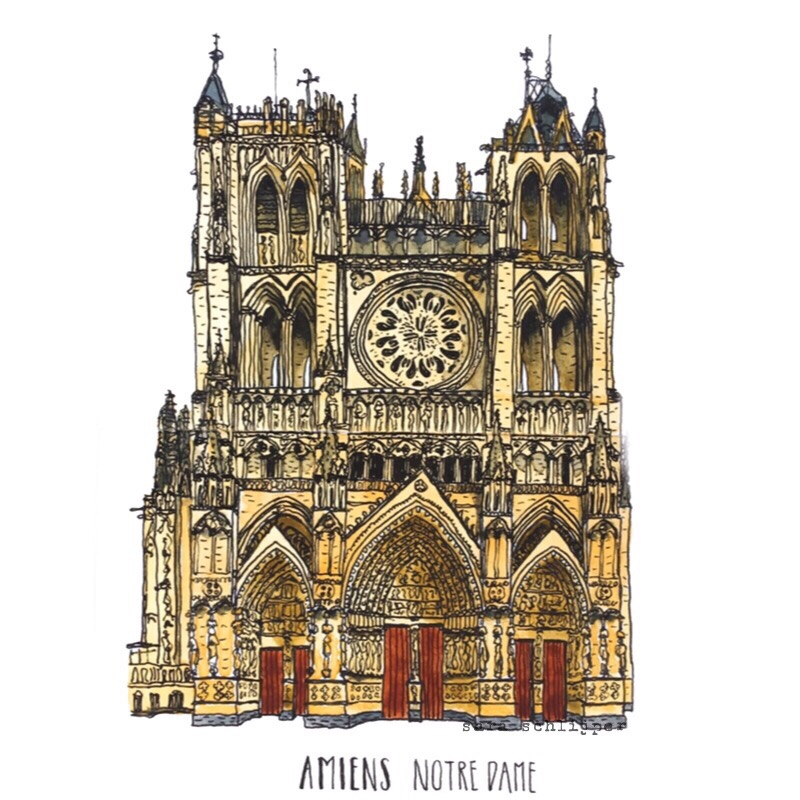 Tekening Notre Dame Amiens