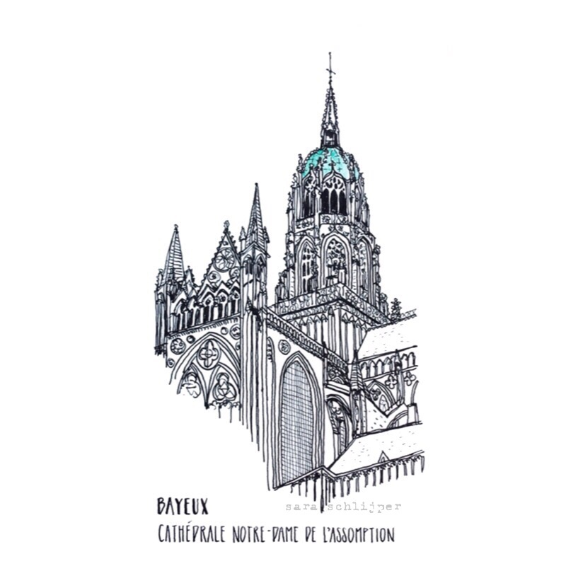 Tekening kathedraal Notre-Dame de l'Assomption Bayeux