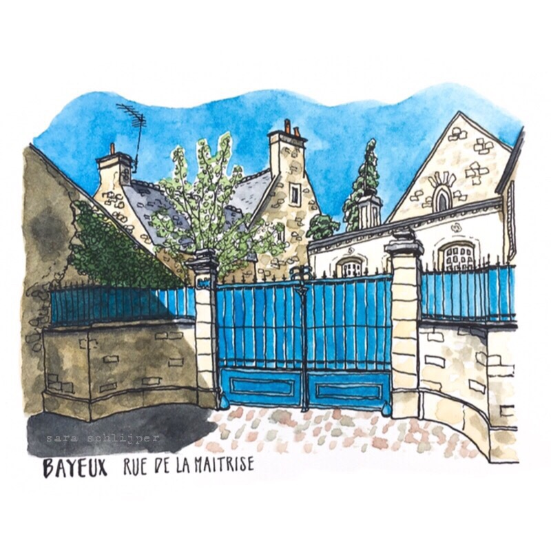 Tekening Rue de la Maîtrise Bayeux