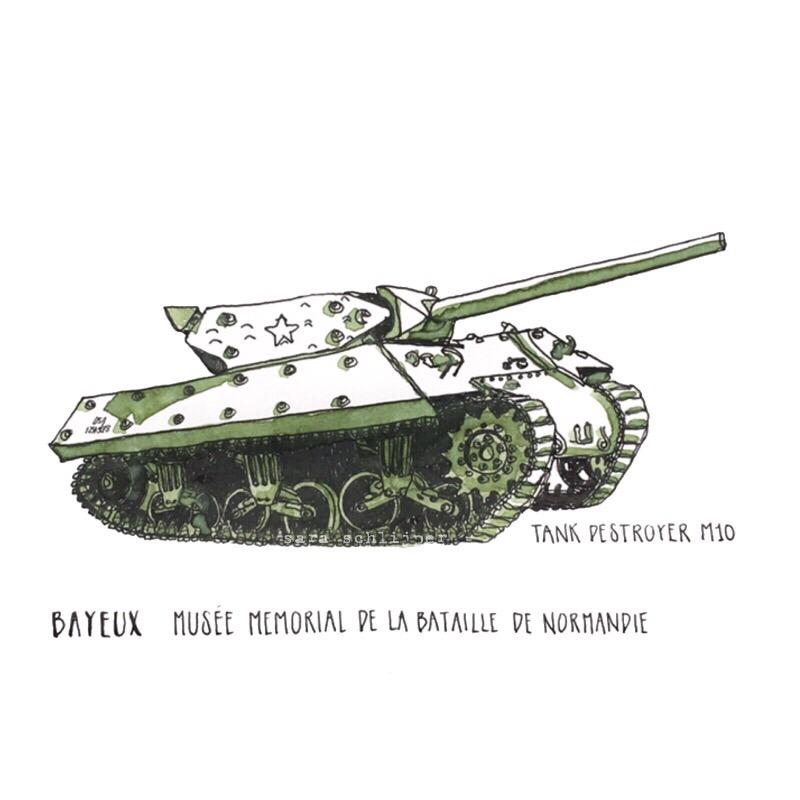 Tekening Tank Destroyer M10 Musée mémorial de la bataille de Normandie Bayeux