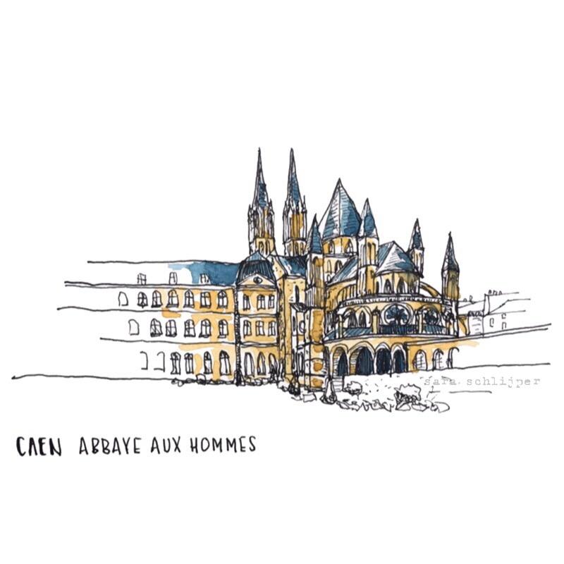 Tekening Abbaye aux hommes Caen