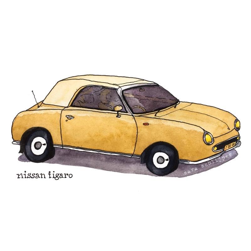 Tekening auto: Nissan Figaro