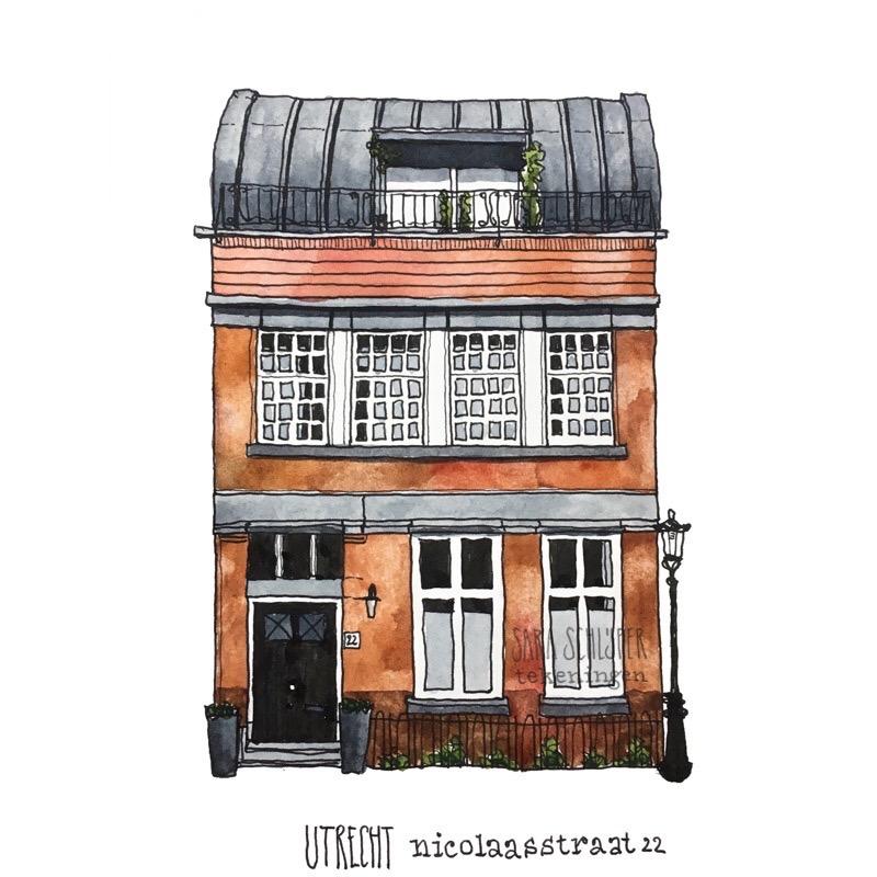 Tekening Nicolaasstraat 22 Utrecht