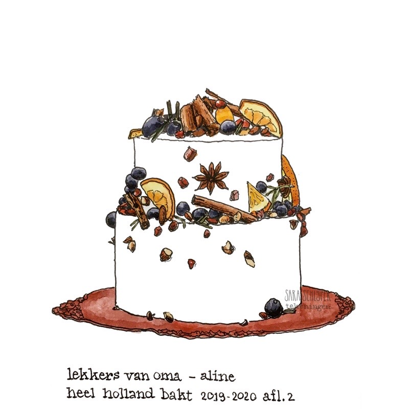 Tekening taart Aline - spektakelstuk - #HHB afl. 2