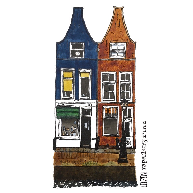 Tekening Rapenburg 17 & 15 - Leiden