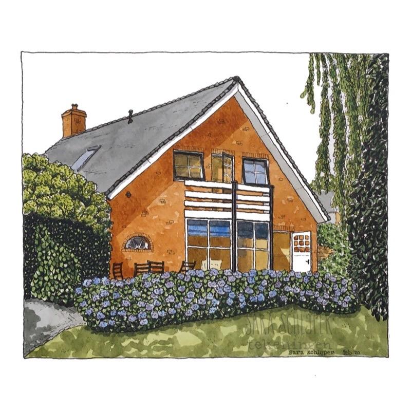 Tekening huis met hortensia's