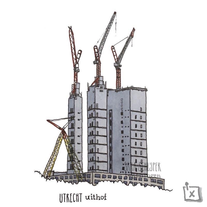 Tekening RIVM in aanbouw - Uithof - Utrecht
