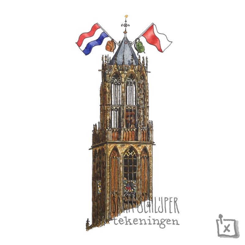 Tekening Domtoren-met-vlaggen-en-rugzakken - Utrecht
