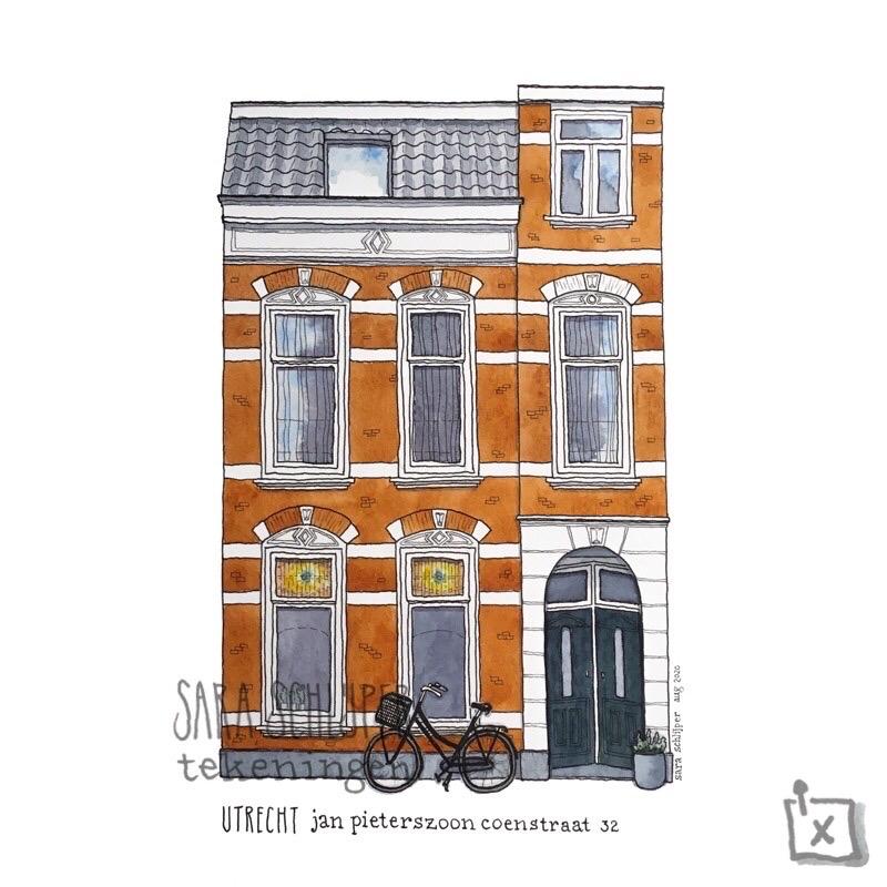 Tekening Jan Pieterszoon Coenstraat - Utrecht