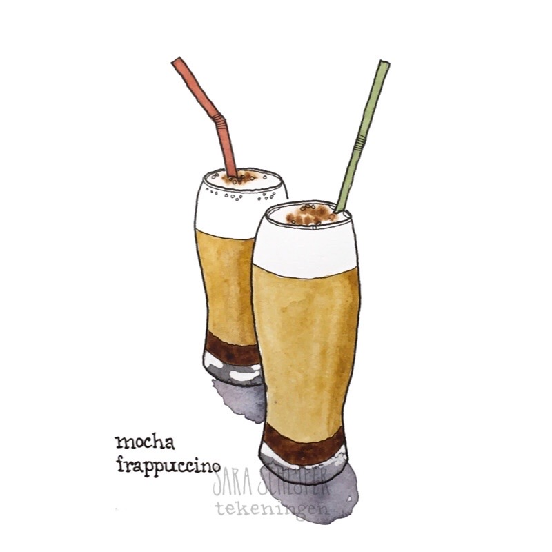 Tekening mocha frappuccino