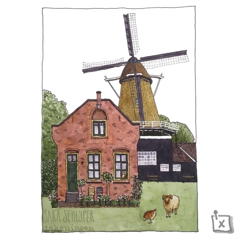 Illustratie trouwkaart: Molenpark - Utrecht