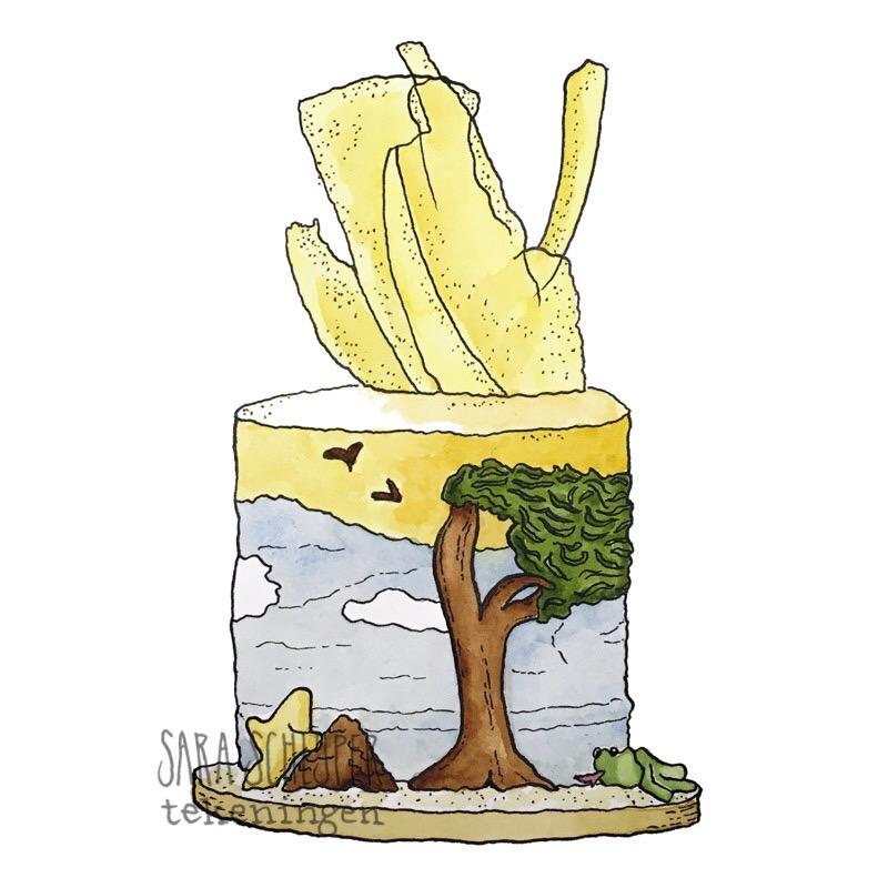 Tekening taart 'Mijn Aruba' van Elizabeth - #HHB S8A1