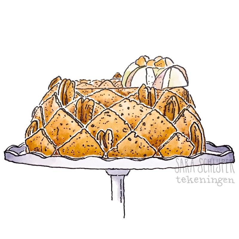 Tekening taart 'Tulband van opa' van Thijs - HHB S8A1