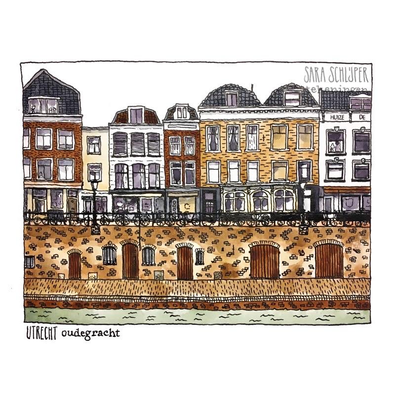 Tekening Oudegracht - Utrecht