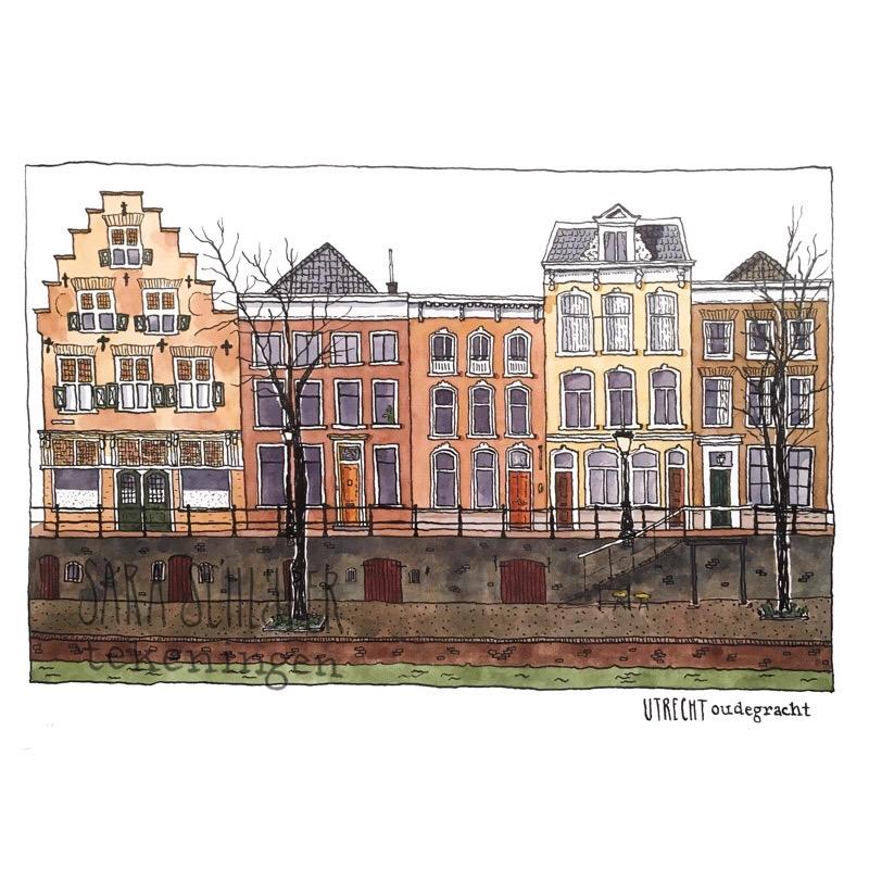 Tekening Oudegracht Utrecht