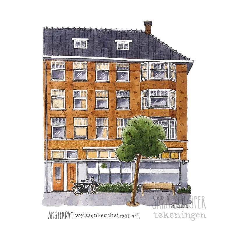 Tekening Weissenbruchstraat - Amsterdam