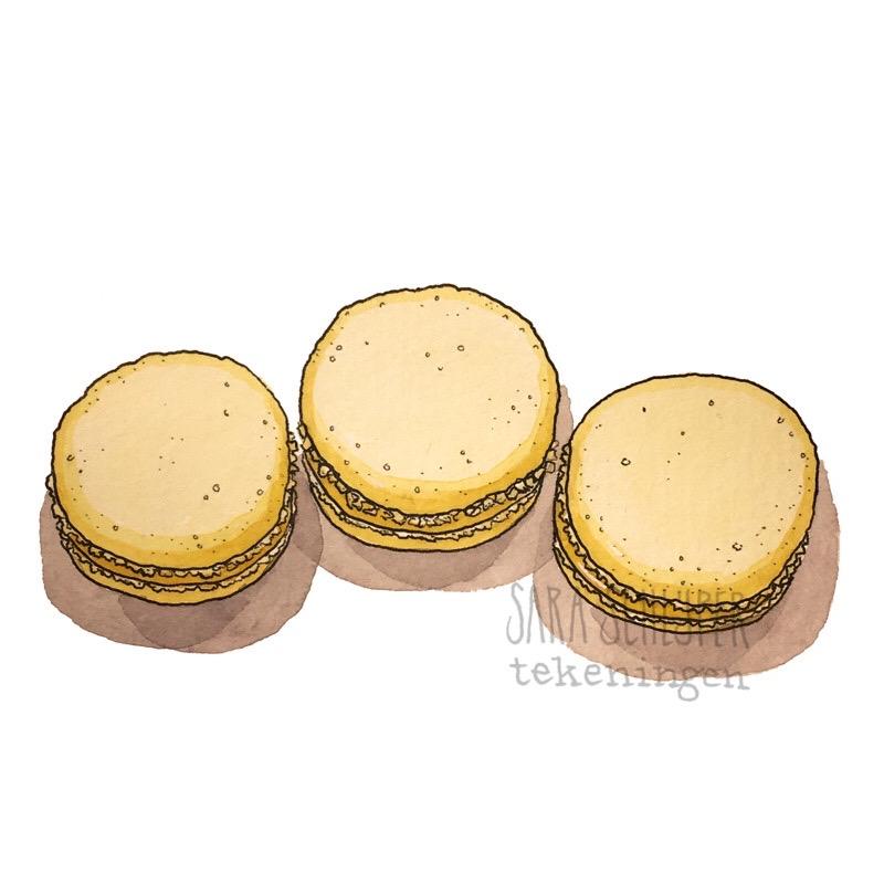 Tekening macarons van Ellen