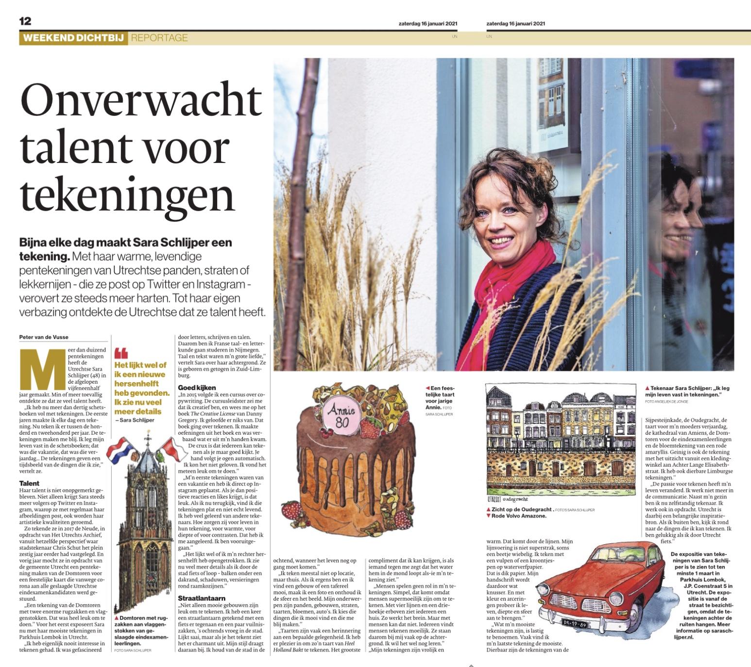 Afbeelding interview Sara Schlijper krantversie AD Utrecht 16-01-2021