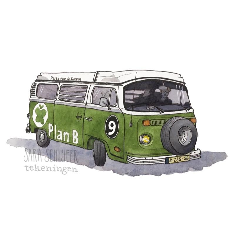 tekening volkswagen schilder electric t2, campagnebus partij voor de dieren