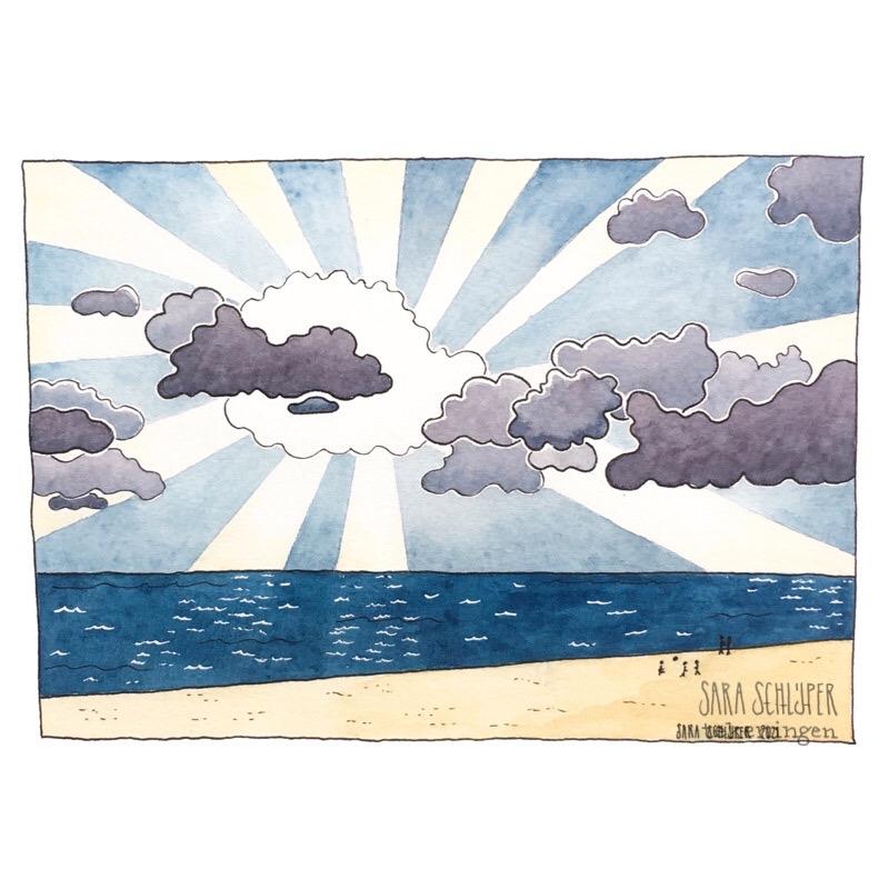 Tekening Achter de wolken...