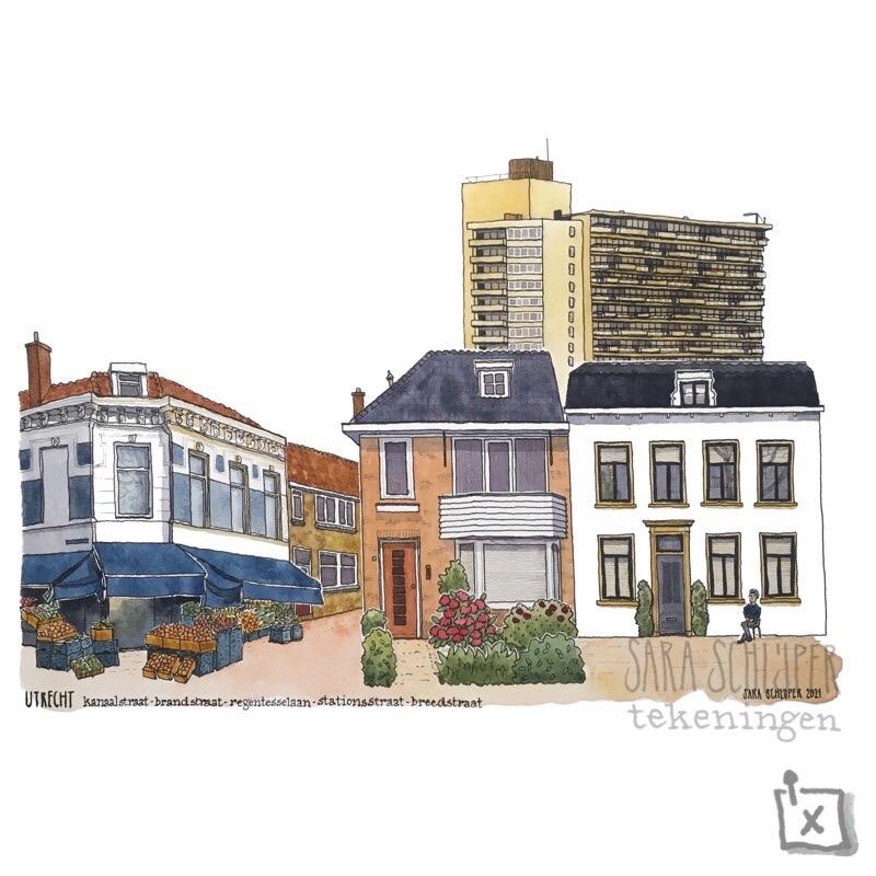 Tekening Utrechts 'straatje'