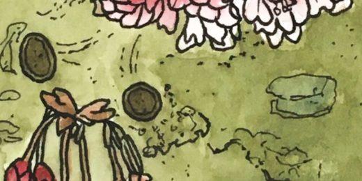 Tekening boomstam met bloesem