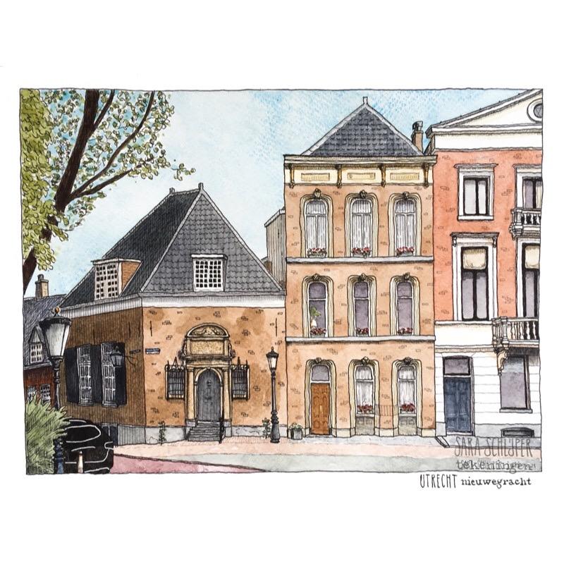 Tekening Nieuwegracht - Utrecht