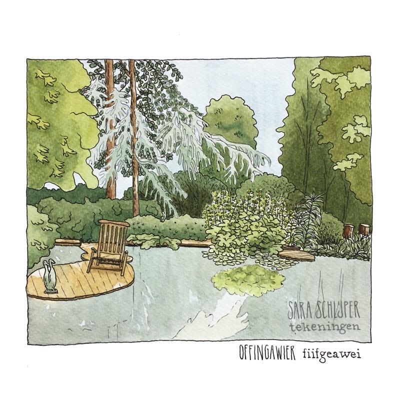 Tekening vijver in privétuin - Fiifgeawei - Offingawier