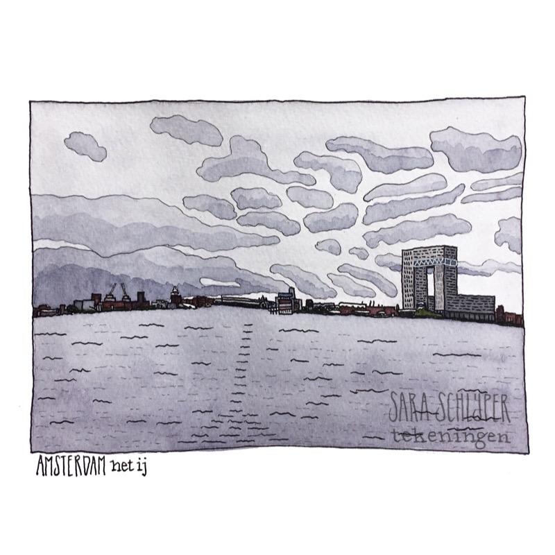 tekening het ij - amsterdam