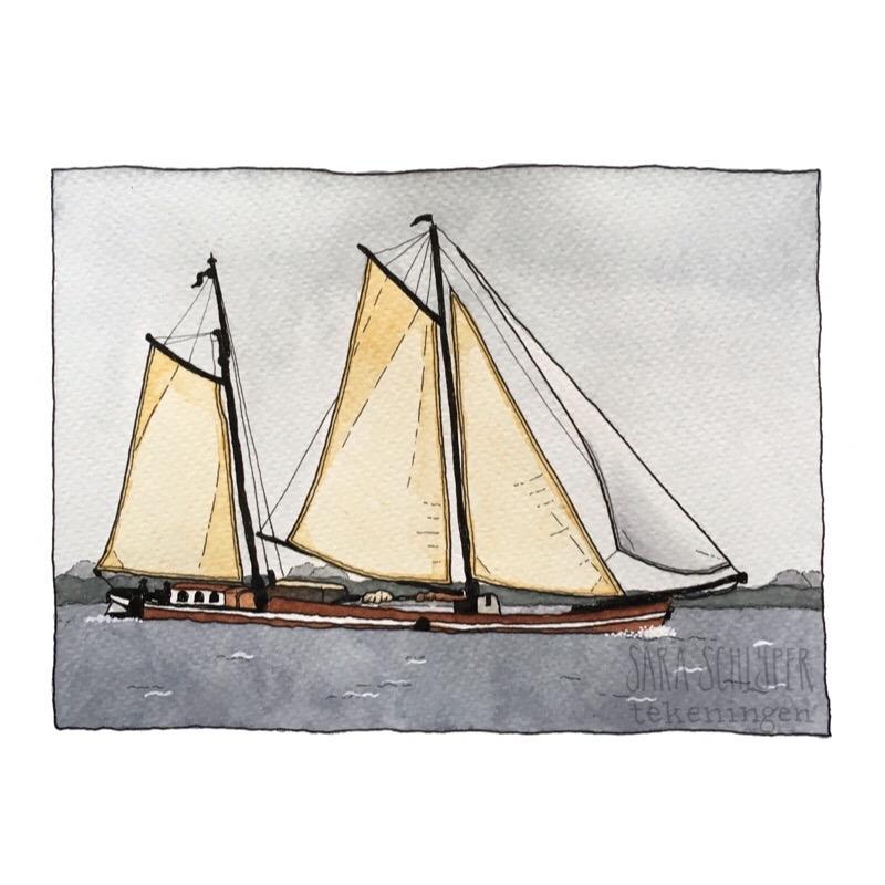 tekening klipper op het ijmeer